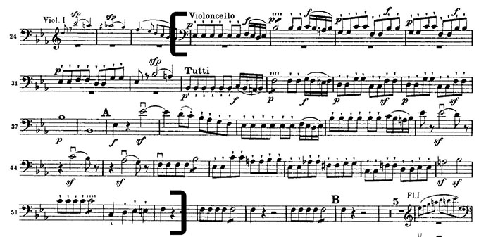 Mozart Magic Flute cello excerpt